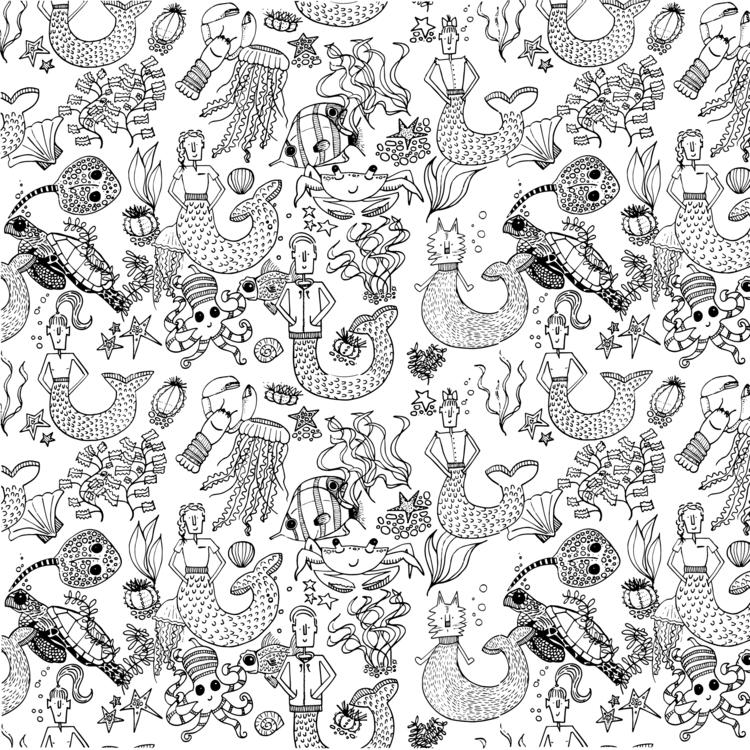 Black white sea life quirk. mer - mdiperidesign | ello