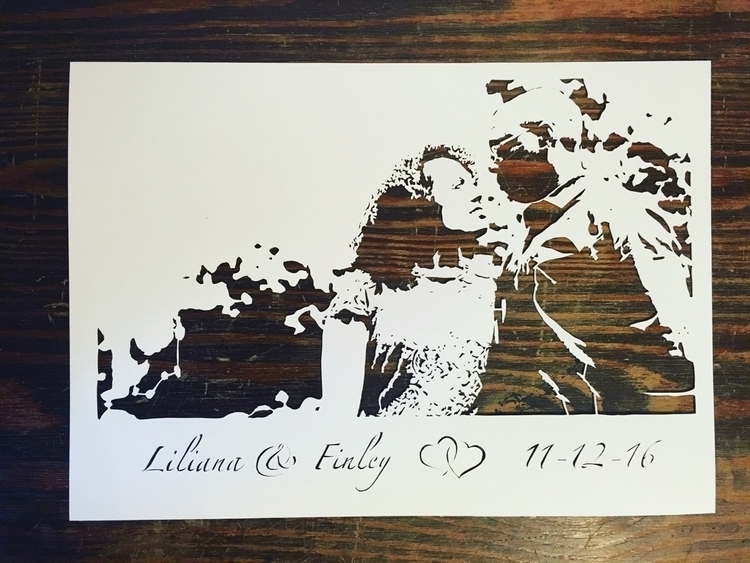 wedding picture Papercut names  - basteljenta | ello