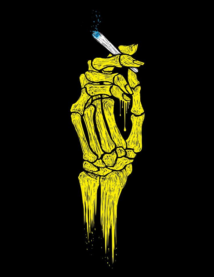 lit fam - skeletal, hands, spliff - cyanbones | ello