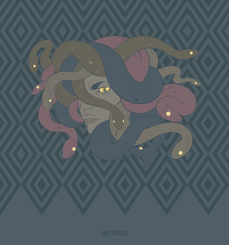 Medusa - illo, illustration, vector - mntzuma | ello