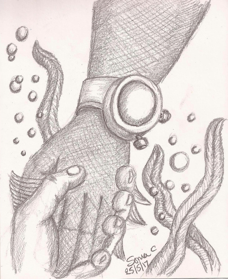 Deep sea rescue pencil sketch - soniabigcheese | ello