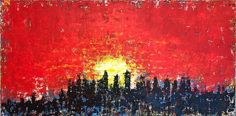 "sunset 48""x24"" acrylic canvas 2 - nuisms | ello"