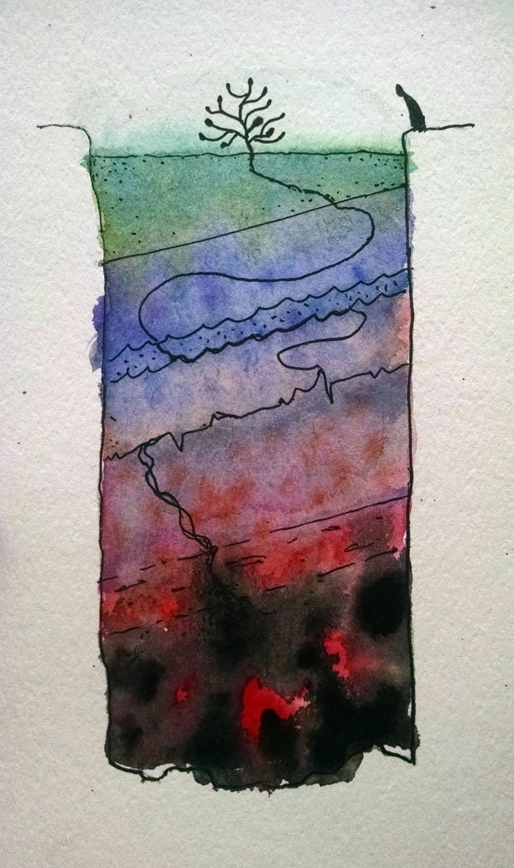Untitled. Ink + Watercolor pape - agustinp   ello