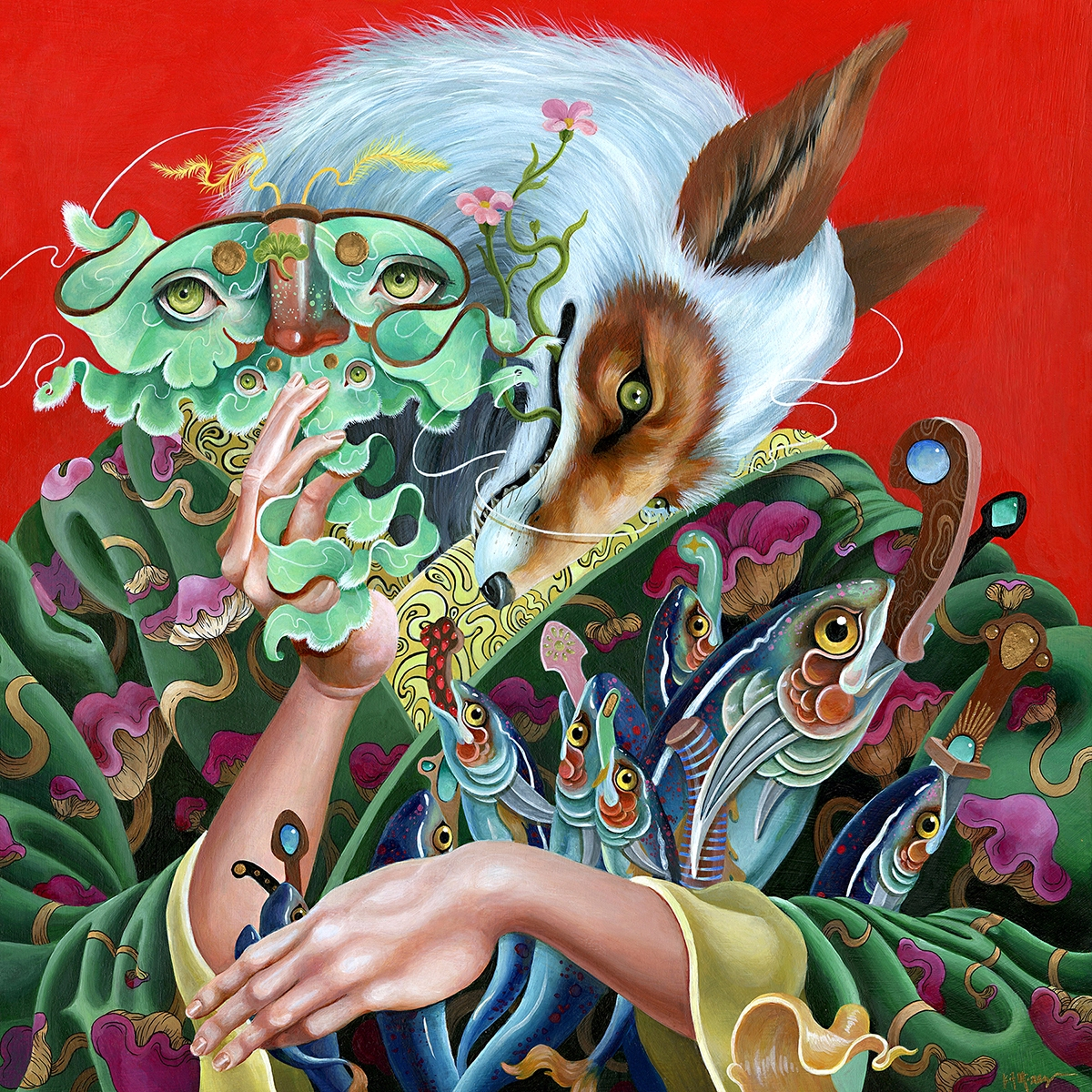 Kitsune acrylic panel - art, fox - kitmizeresart | ello