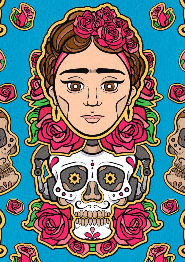 Frida - vector, skull, frida, illustrator - vissotto   ello