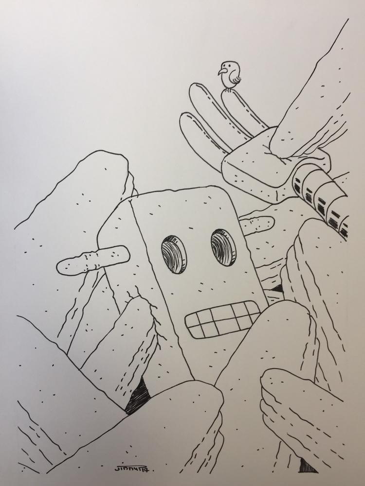 10 le robot dans les rochers /  - jimmy-draws | ello