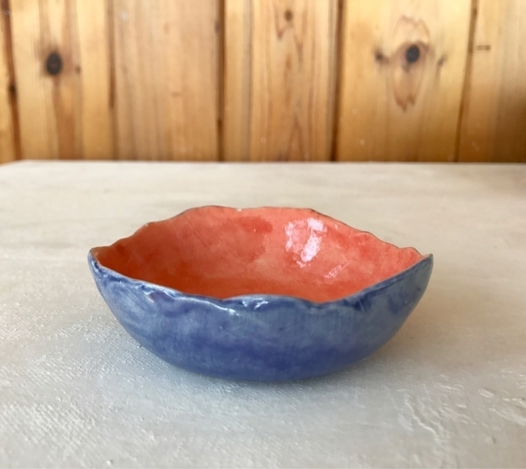 Orange blue ring dish :droplet - lilpspottery | ello