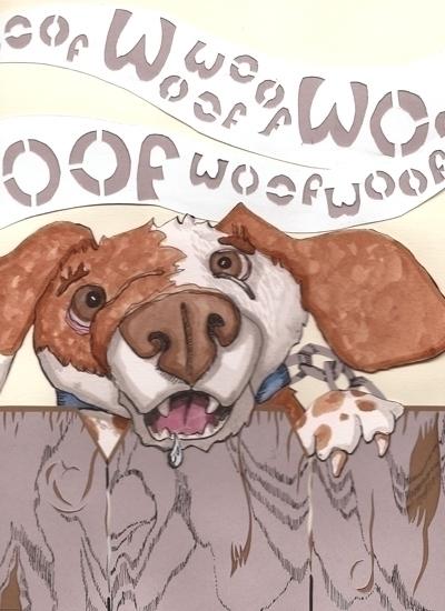 Barking Dog. Pen ink, cut paper - smithycat   ello