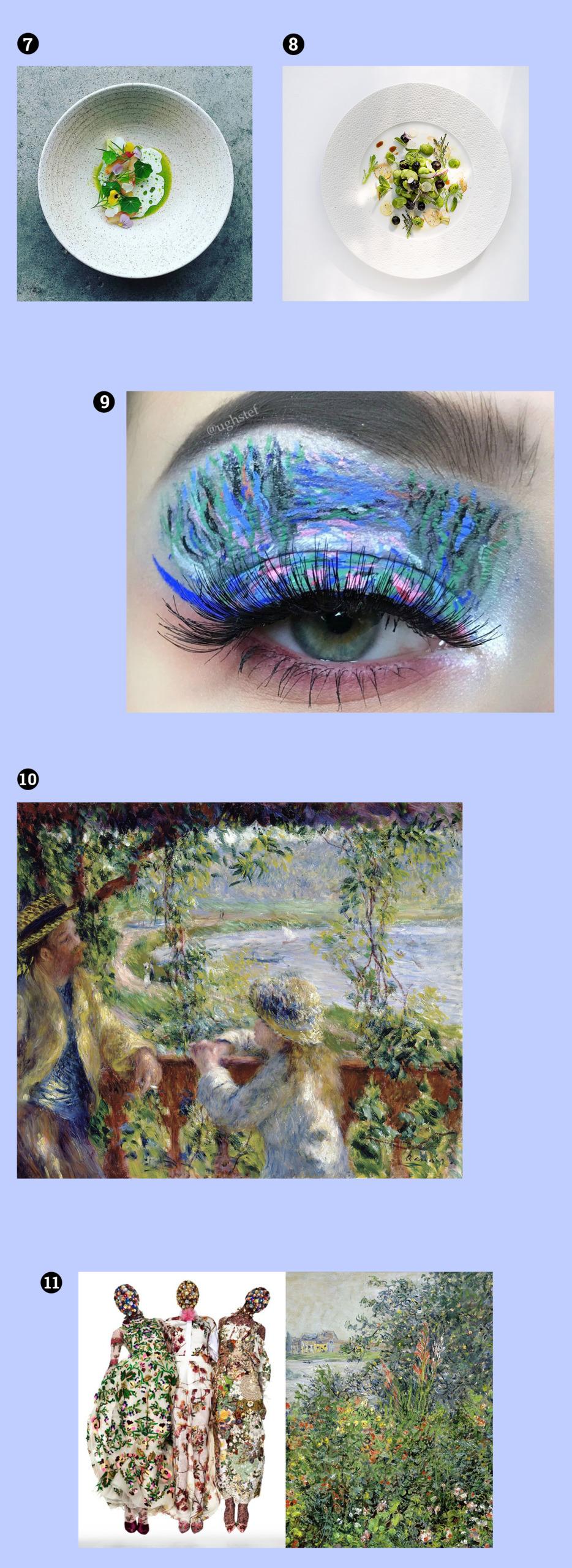 Obraz przedstawia fotografie na niebieskim tle. Widzimy oko z mocnym makijażem, dwa talerze z potrawami sfotografowane z lotu ptaka, obrazy znanego artysty, trzy modelki.