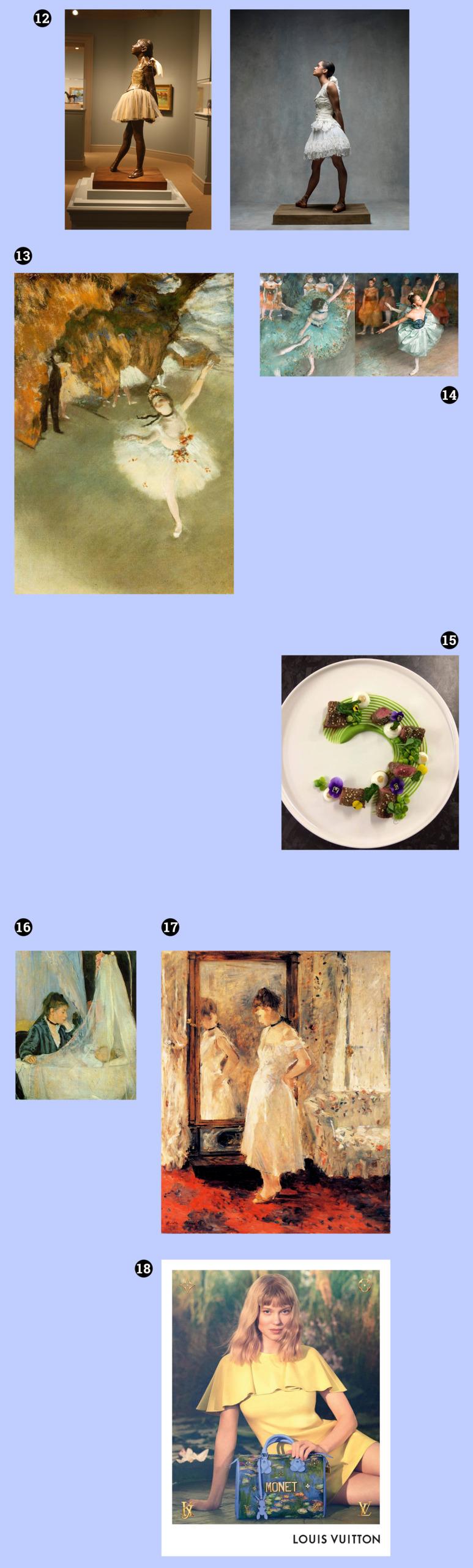 Obraz przedstawia fotografie na niebieskim tle. Widzimy rzeźbę baletnicy, kobietę pozującą na wzór rzeźby, obrazy znanego artysty, talerz z potrawą, fotografie przedstawiającą siedzącą kobietę z torebką.