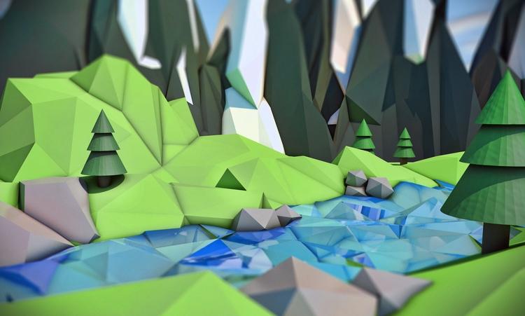 Poly Landscape: Rive Mountain - lowpoly - wvw001 | ello