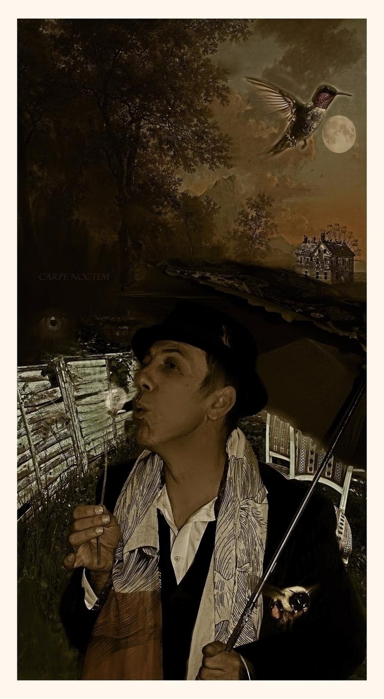 portrait - hard Leonard Cohen - art#selfportrait#seizethenight#digitalcollage - astroturf | ello