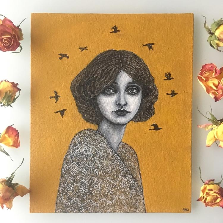Sun - portrait, painting, vintage - neondust | ello