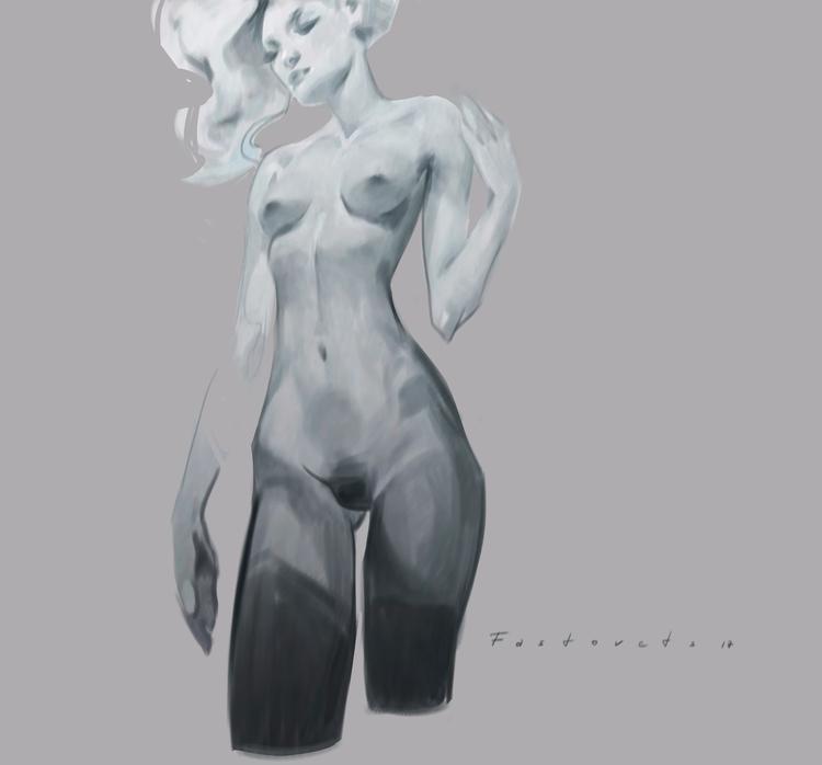 art, girl, nude, minimal, design - hanukafast | ello