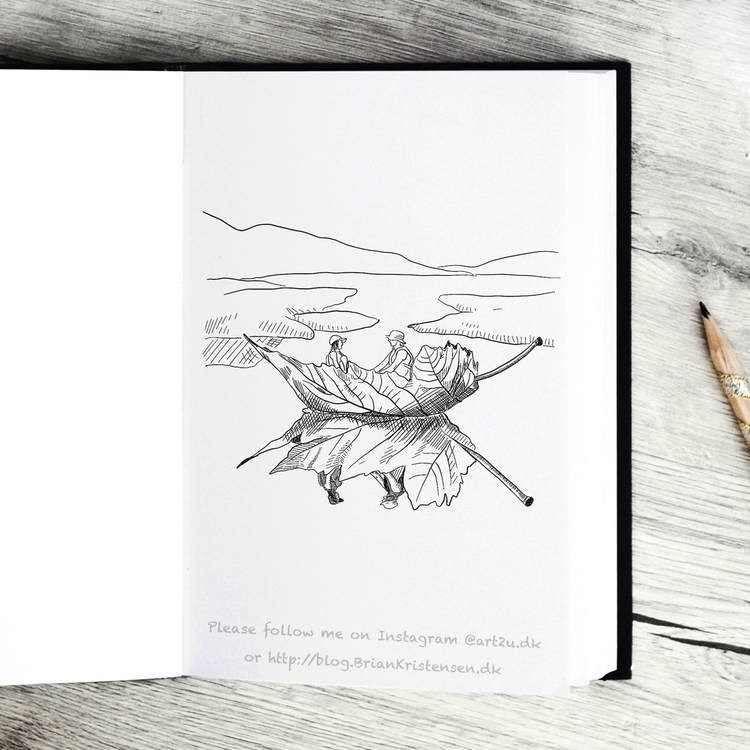 Drawing - leaf, boat, sea, reflection - art2u | ello