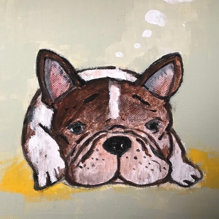 painting, frenchbulldog, animalportrait - melodylamoureuxart | ello