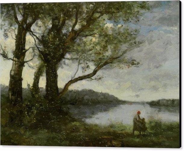 Trees View Lake Canvas Print - pixbreak | ello