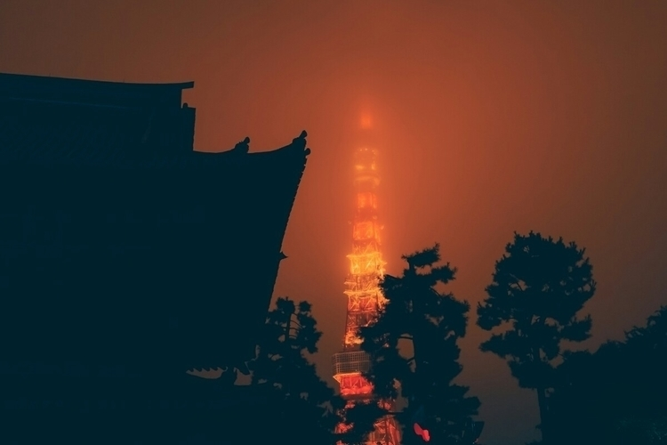 temple tower, damp foggy night - fokality | ello