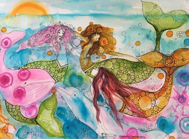mermaid meeting  - art, mermaids - arnabaartz | ello