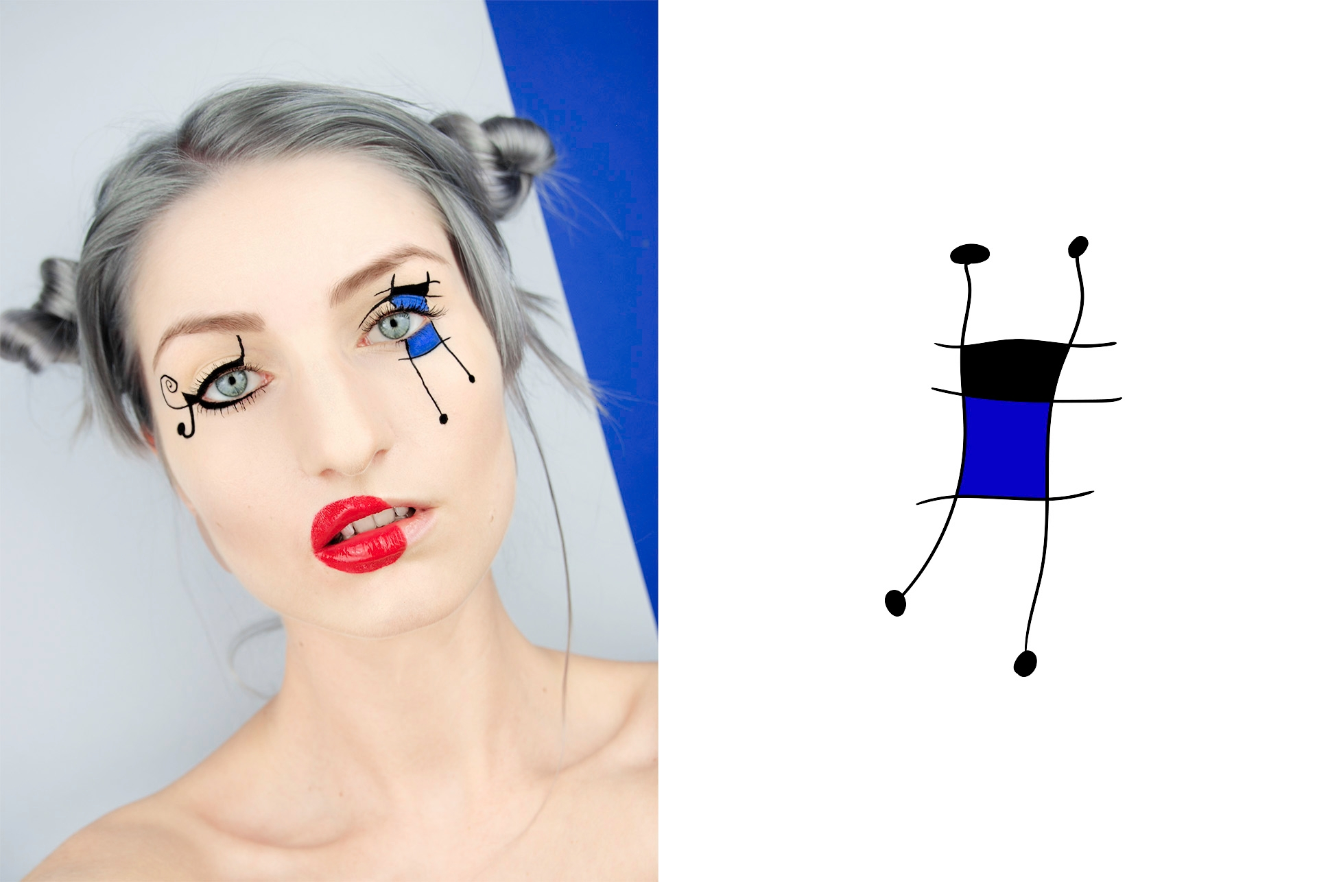 Make-up inspirowany obrazem. 'Figure, Dog, Birds' by Joan_Miró