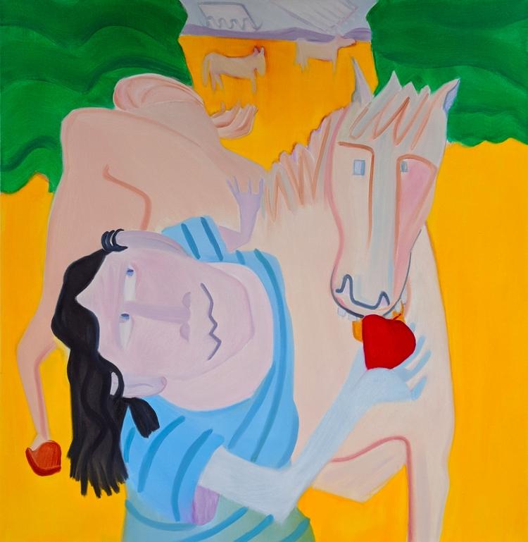 Apple Day oil/canvas, 56x54 - art - markbarry | ello
