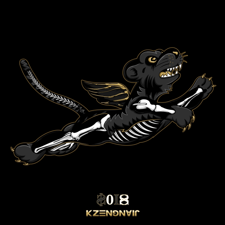 Fly tiger skull - kzengjiang, illustration - kzengjiang | ello