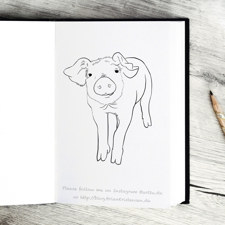 Drawing - cute, pig - art2u | ello