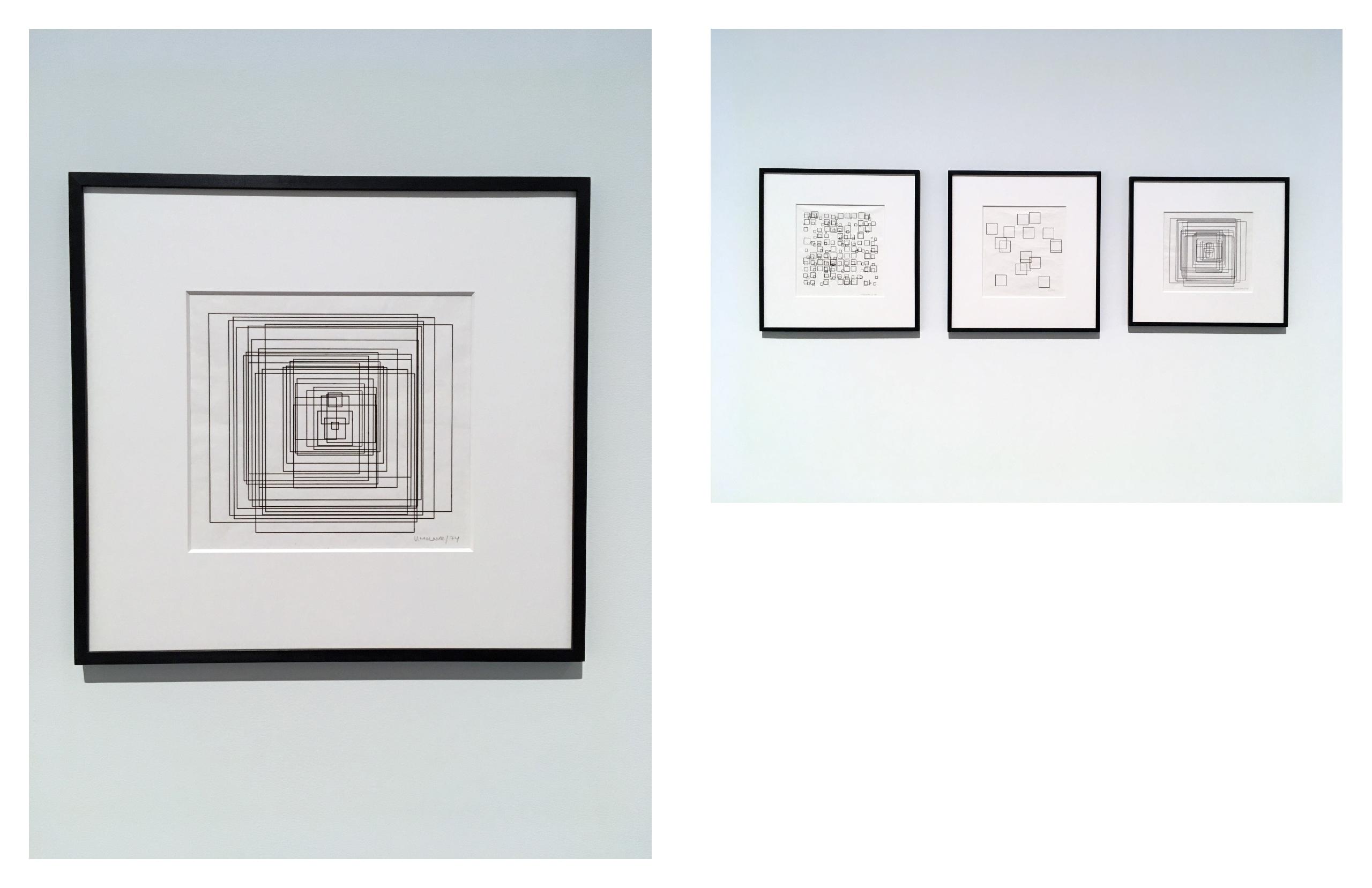 Obraz przedstawia dwa zdjęcia. Z lewej strony widzimy obrazek przedstawiający kwadratowe linie. Z prawej strony widzimy trzy obrazki w ramkach przedstawiające kwadraty różnych rozmiarów.