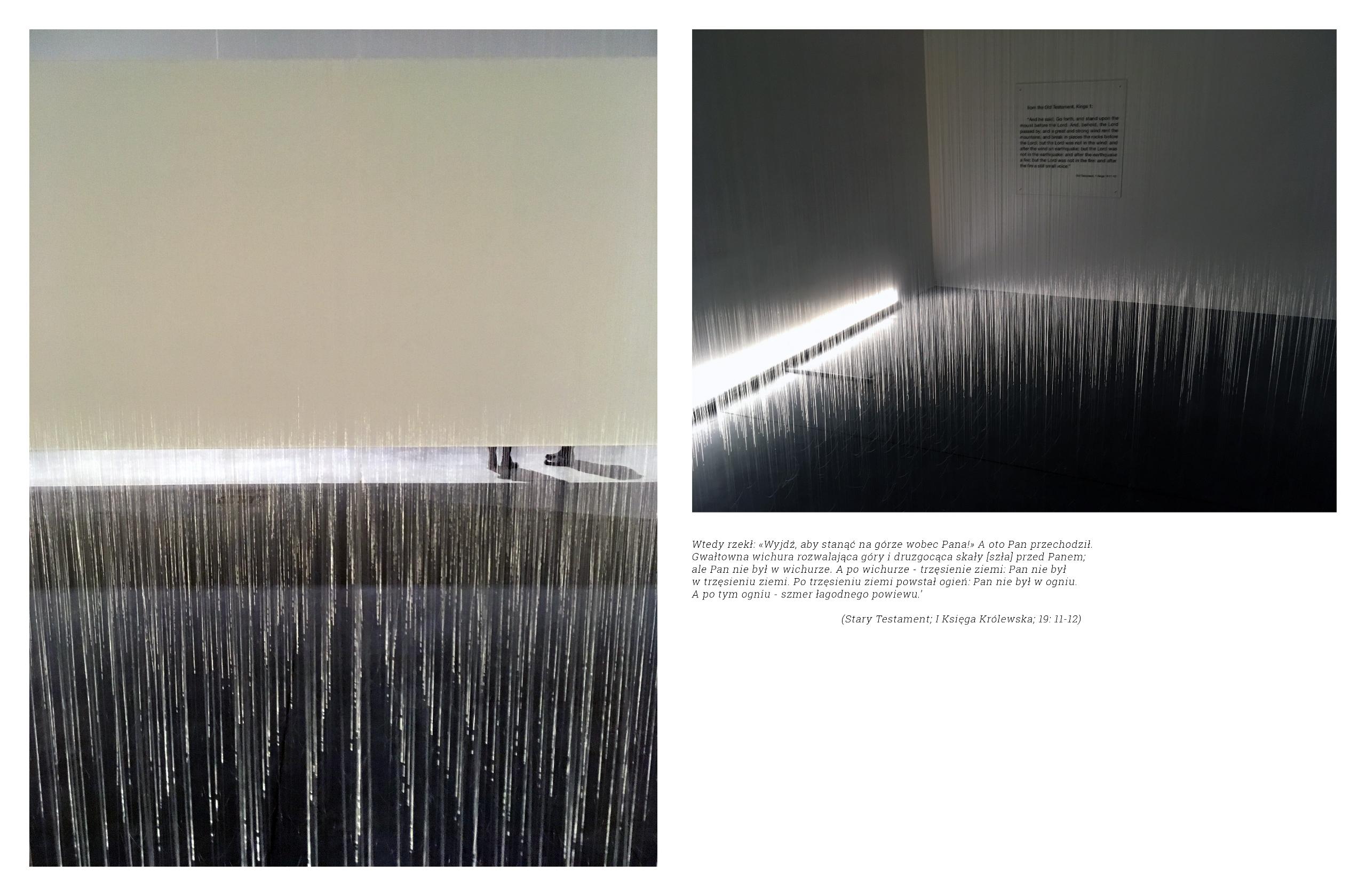 Obraz przedstawia dwa zdjęcia. Z lewej strony widzimy fotografię ukazującą fragment nóg osób stojących za białą ścianą, całość przykrywa biały szum. Z prawej strony widzimy oświetlone pomieszczenie z napisem na ścianie.