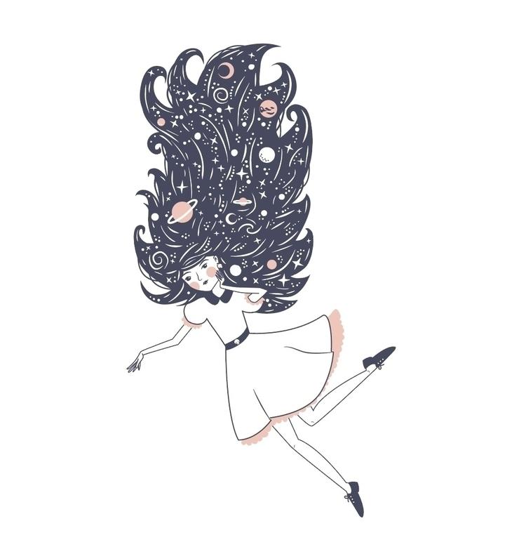 Cosmic girl - illustration, vectorillustration - becski | ello
