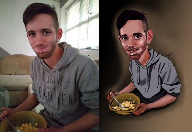 Commission photograph eating - caricature - saraspaintings | ello