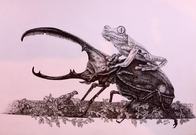 rhinoceros beetle hitchhiker - art - msoart | ello