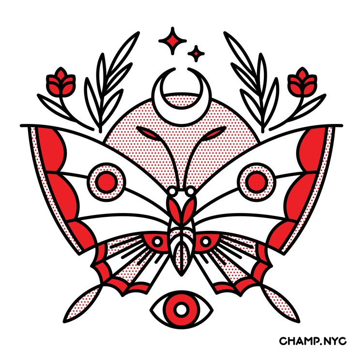 Moth - Illustration, halftone, vectorart - champnyc | ello