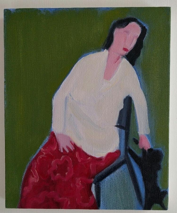 Woman Dog oil/canvas/board, 11x - markbarry | ello