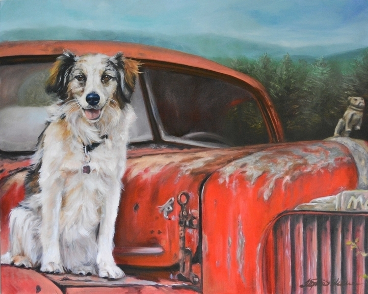 Meet Livvy. sitting Mack truck - artfurpaws | ello