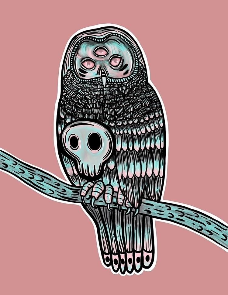 Skully Owl: Digital Art - owl, weirdart - venusrain | ello
