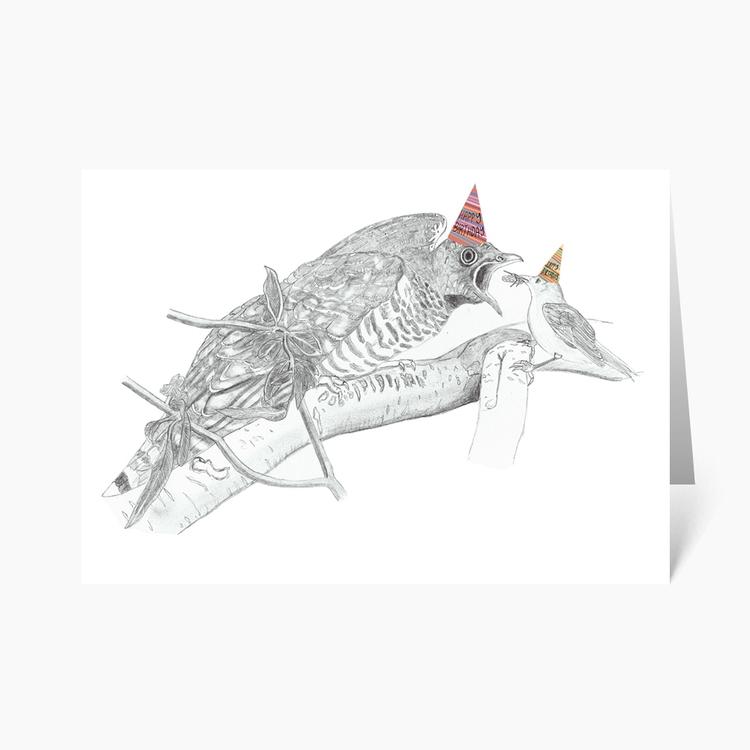 Hilariou Cuckoo Bird Chick Illu - wonderfulcraftcards | ello