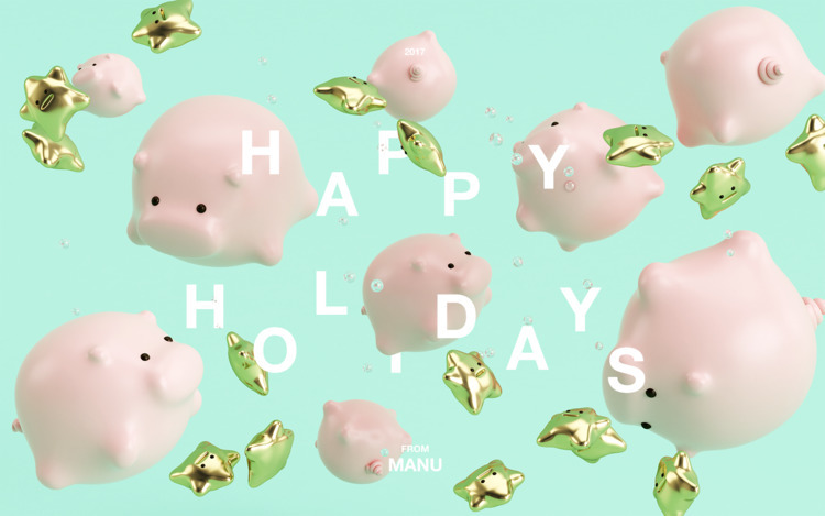 HAPPY HOLIDAYS! <3 - pig, cinema4d - manuturru | ello