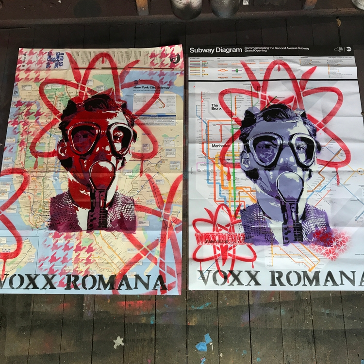 Studio day - stencil NYC subway - voxxromana | ello
