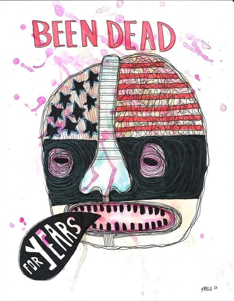 Dead - watercolor, paper, artist - skeleartart | ello