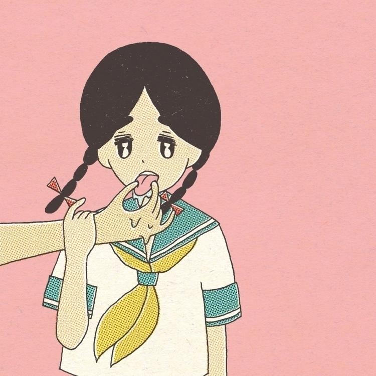 女子高生のよだれ - hentai, schoolgirl, saliva - nanako_ | ello