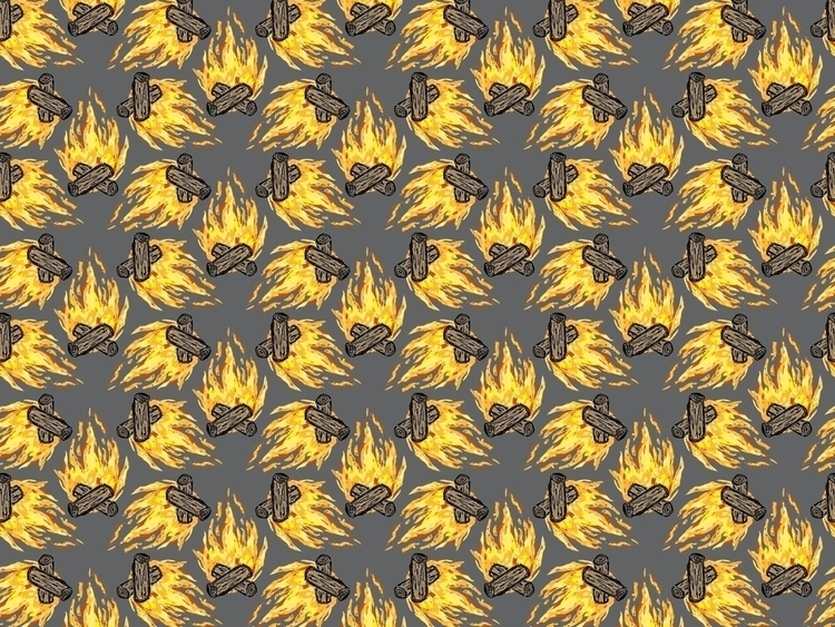 Campfire - illustration, pattern - reneeleigh | ello