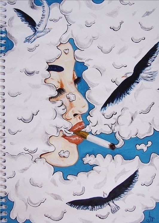 clouds - sketchbook, smoking, seagull - 13ladyn | ello