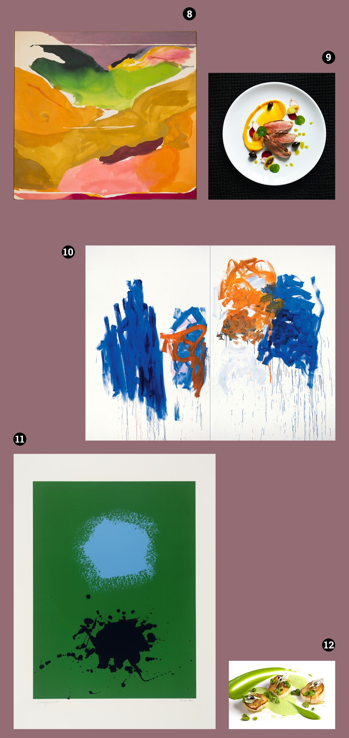 Obraz przedstawia pięć zdjęć na fioletowym tle, z czego dwa to zdjęcia dań na talerzach, a trzy to zdjęcia obrazów znanych artystów.