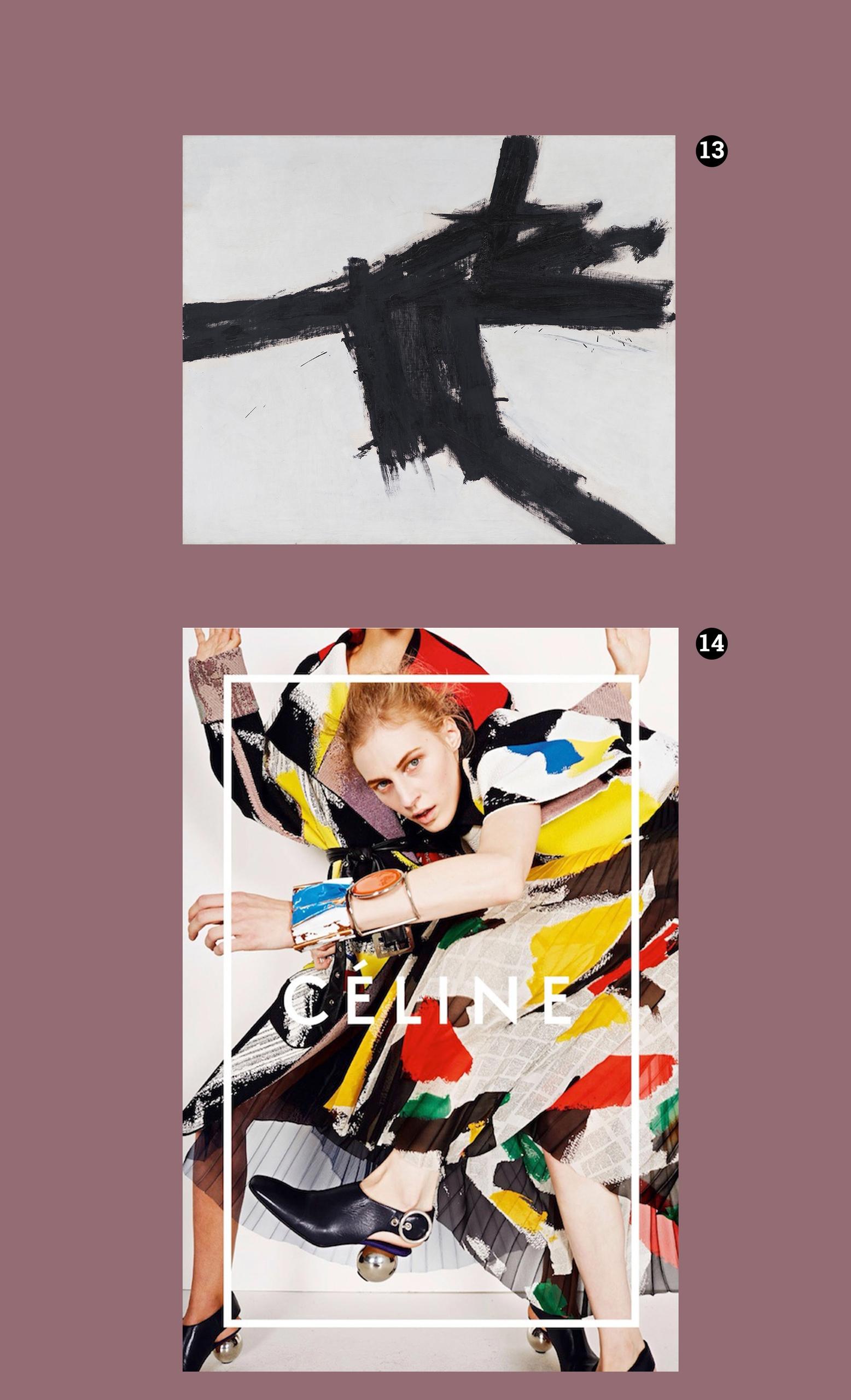 Obraz przedstawia dwa zdjęcia na fioletowym tle. Jedno z nich przedstawia czarno-biały obraz olejny, a drugie modelkę w kolorowych ubraniach.