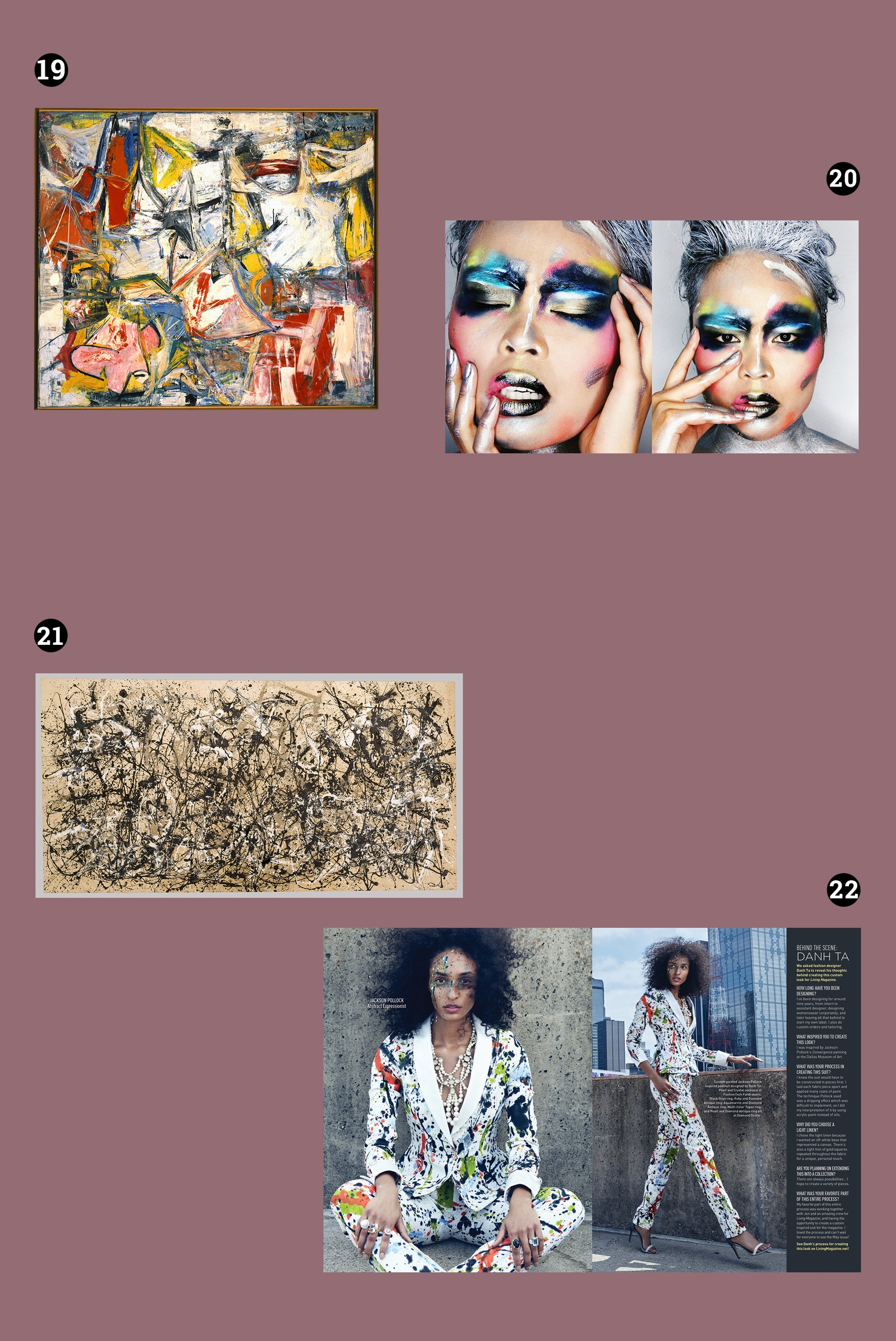 Obraz przedstawia cztery zdjęcia, z czego dwa pokazują obrazy abstrakcyjne, a dwa pozostałe to kobiece portrety. Całość na fioletowym tle.