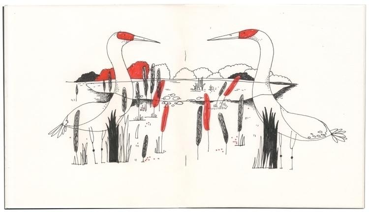 cranes - sketchbook, birds, illustration - ebencom   ello