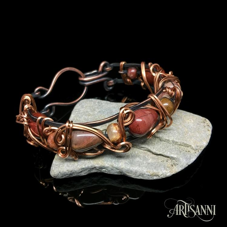 Agate copper bracelet hammered  - artisanni | ello