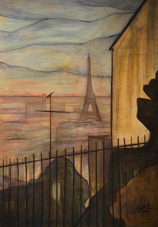 Eiffel Montmartre oil coal card - bankozsolt | ello