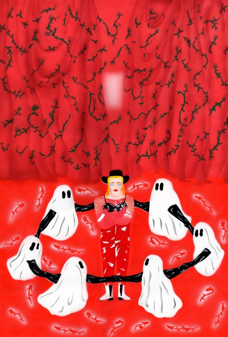 HMLTD door - red#hmltd#band#ghost#rose#curtain#pattern#illustration#illustrator#art#artist#love#selflove#boots#color#rough#door#draw - rubaneeee | ello